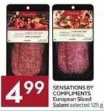 Sensations By Compliments European Sliced Salami Selected 125 g