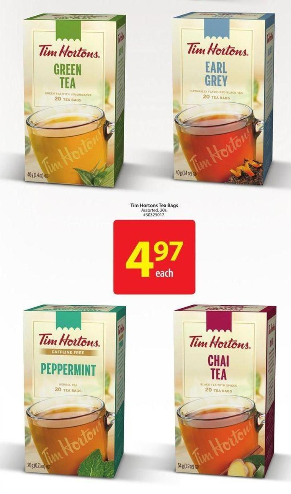 Tim Hortons Tea Bags
