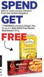 Twinings Lemon & Ginger Tea Free 20 Pk & 1 Walkers Pure Butter Shortbread 150 g