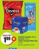 Christie Cookies 300 g Doritos 255 g Tetley Orange Pekoe Tea 72 Pk