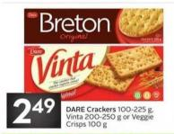 Dare Crackers 100-225 g - Vinta 200-250 g or Veggie Crisps 100 g