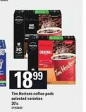 Tim Hortons Coffee PODS - 30's