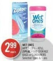 Wet Ones Wipes (28's - 40's) - Ziploc Food Storage Bags or Containers