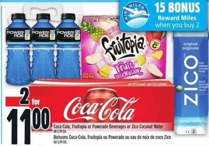 Coca-cola - Fruitopia Or Powerade Beverages Or Zico Coconut Water