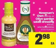 Newman's Own 350 mL Or Olive Garden Salad Dressing 473 mL