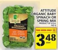 Attitude Organic Baby Spinach Or Spring Mix
