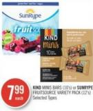 Kind Minis Bars (10's) or Sunrype Fruitsource Variety Pack (12's)
