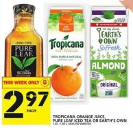 Tropicana Orange Juice - Pure Leaf Iced Tea Or Earth's Own
