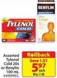 Assorted Tylenol Cold 20s or Benylin 100 mL