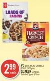 PC Blue Menu Granola Boost (325g) or Quaker Cereals