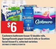 Cashmere Bathroom Tissue 12 Double Rolls - Spongetowels Paper Towels 6 Rolls Or Scotties Facial Tissue 6's