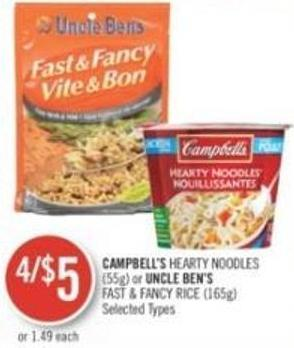 Campbell's Hearty Noodles (55g) or Uncle Ben's Fast & Fancy Rice (165g)