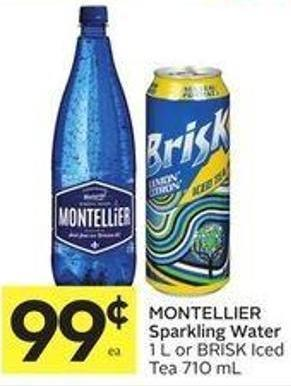 Montellier Sparkling Water 1 L or Brisk Iced Tea 710 mL