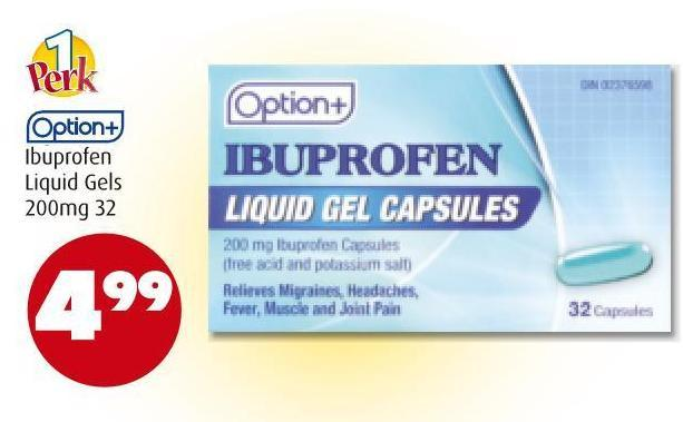 Option+ Ibuprofen Liquid Gels 200mg  32