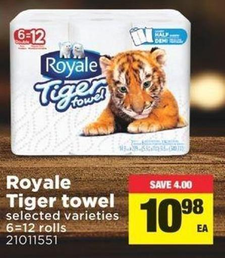 Royale Tiger Towel - 6=12 Rolls