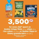 Quaker Crispy Minis 100 G - Chips 90 G - Rice Cakes 127-199 G Or Quaker Dipps Or Chewy Granola Bars 150-156 G