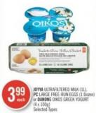 Joyya Ultrafiltered Milk (1l) - PC Large Free-run Eggs (1 Dozen) or Danone Oikos Greek Yogurt (4 X 100g)