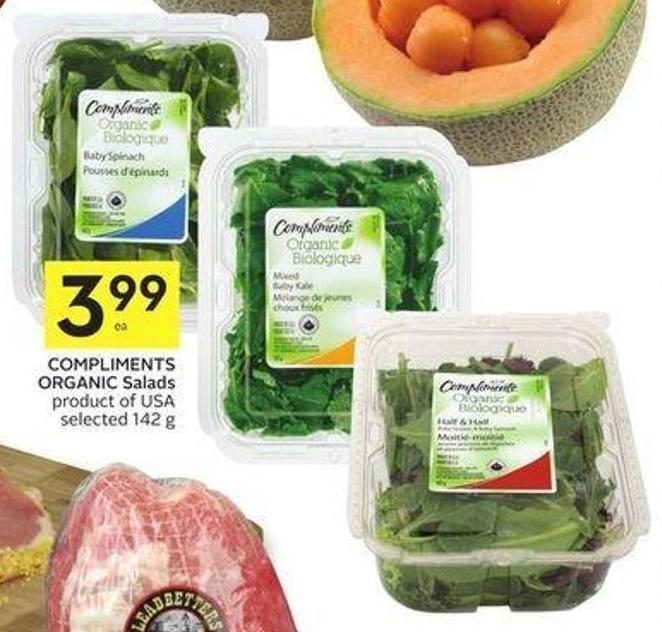 Compliments Organic Salads Product of USA Selected 142 g