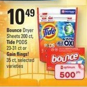 Bounce Dryer Sheets - 200 Ct - Tide PODS - 23-31 Ct Or Gain Flings! - 35 Ct