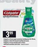 Colgate Or Crest Super Premium Toothpaste - 70-170 Ml - Colgate Or Oral-b Manual Toothbrush Colgate Or Crest Mouthwash Or Floss