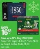 Selected Folger's K-cup Pods - 24-ct or Nabob Coffee Pods - 30-ct
