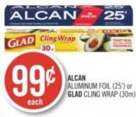 Alcan Aluminum Foil (25') or Glad Cling Wrap (30m)