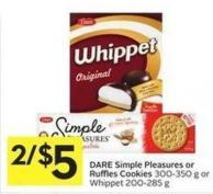 Dare Simple Pleasures or Ruffles Cookies 300-350 g or Whippet 200-285 g