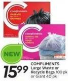 Compliments Large Waste or Recycle Bags