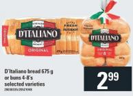 D'italiano Bread - 675 g or Buns 4-8's