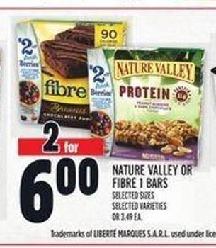 Nature Valley Or Fibre 1 Bars