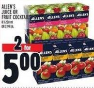 Allen's Juice Or Fruit Cocktail 8 X 200 ml Or 2.99 Ea.