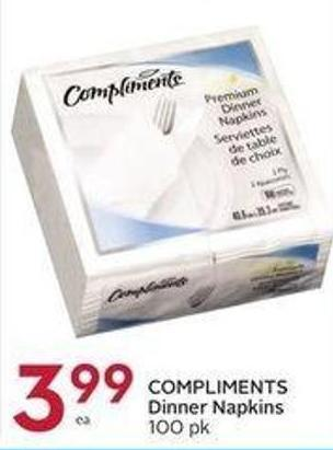 Compliments Dinner Napkins 100 Pk