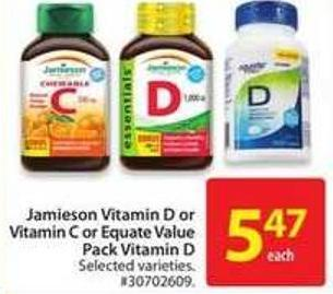Jamieson Vitamin D or Vitamin C or Equate Value Pack Vitamin D