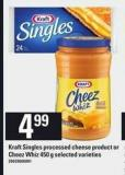 Kraft Singles Processed Cheese Product Or Cheez Whiz - 450 G