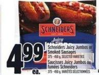 Schneiders Juicy Jumbos Or Smoked Sausages - 375/450 G