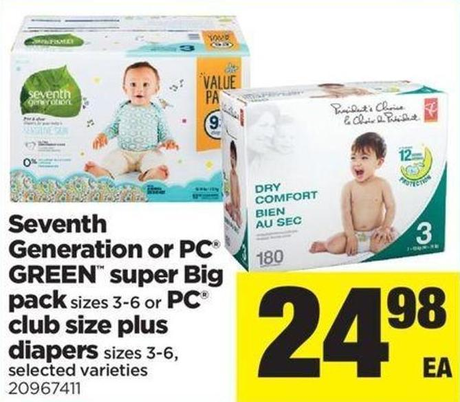 Seventh Generation Or PC Green Super Big Pack - Sizes 3-6 or PC Club Size Plus Diapers - Sizes 3-6