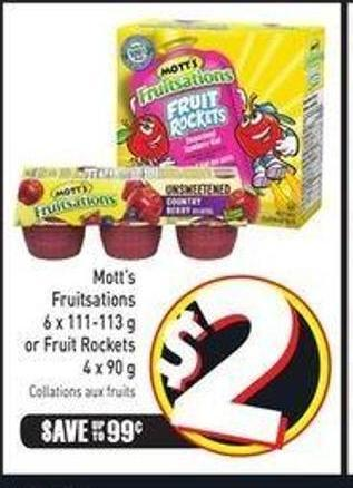 Mott's Fruitsations 6 X 111-113 g or Fruit Rockets 4 X 90 g