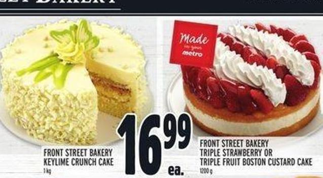Front Street Bakery Keylime Crunch Cake 1 Kg - Front Street Bakery Triple Strawberry or Triple Fruit Boston Custard Cake 1200 g
