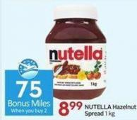 Nutella Hazelnut Spread 1 Kg - 75 Air Miles