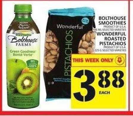 Bolthouse Smoothies Or Wonderful Roasted Pistachios
