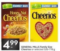 General Mills Family Size Cheerios or Selected 526-778 g