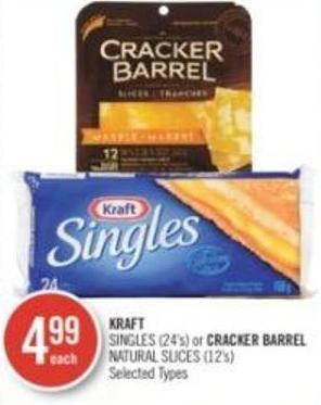 Kraft Singles (24's) or Cracker Barrel Natural Slices (12's)