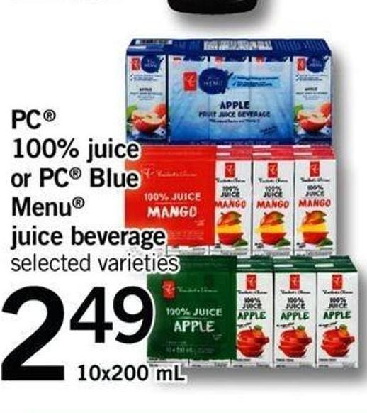 PC 100% Juice Or PC Blue Menu Juice Beverage - 10x200 Ml