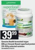 Genuine Health Fermented Vegan 600 G Or Ground-based Superfood Protein 374-429 G
