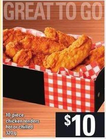 10 Piece Chicken Tenders - Hot Or Chilled - 320 G