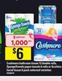 Cashmere Bathroom Tissue - 12 Double Rolls - Spongetowels Paper Towels - 6 Rolls Or Scotties Facial Tissue - 6 Pack