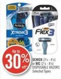 Schick (3's - 4's) or Bic (2's - 8's) Disposable Razors