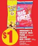 Hershey's Snack Mix Tube - 45-56 g or Allan Big Foot - 120 g