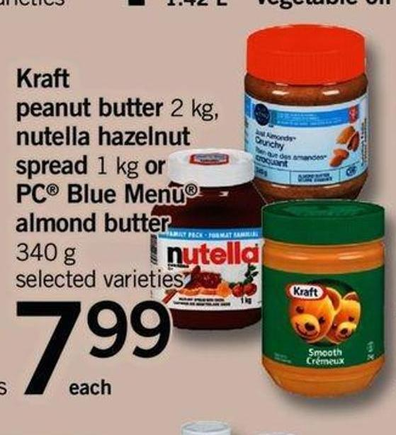 Kraft Peanut Butter - 2 Kg - Nutella Hazelnut Spread - 1 Kg Or PC Blue Menu Almond Butter - 340 G