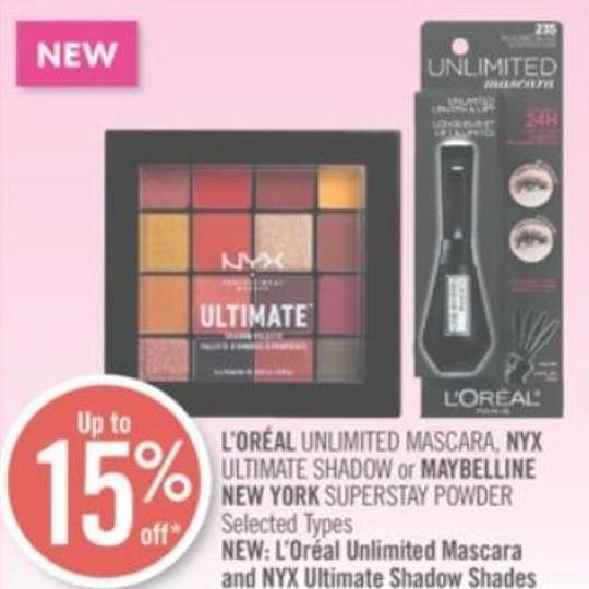 L'oréal Unlimited Mascara - Nyx Ultimate Shadow or Maybelline New York Superstay Powder
